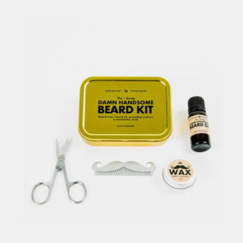 DAMN HANDSOME BEARD GROOMING KIT CONTENTS AND GOLD TIN PACKAGING BOX LIFESTYLE
