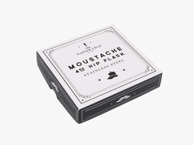 HIP STAINLESS STEEL MOUSTACHE HIP FLASK PACKAGING BOX