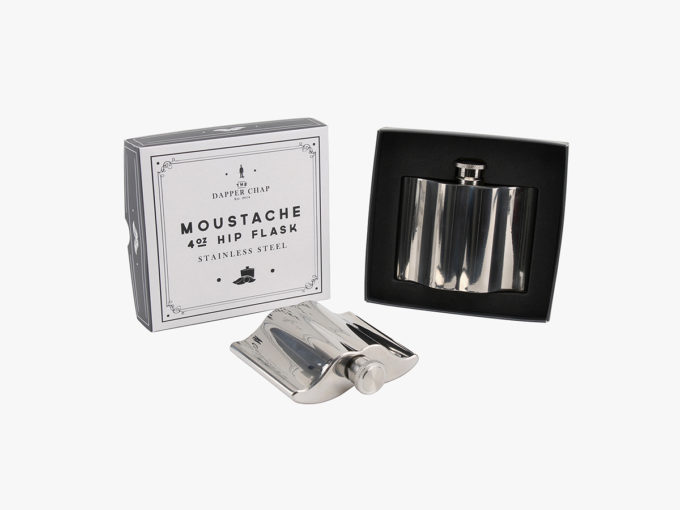 HIP STAINLESS STEEL MOUSTACHE FLASK IN PACKAGING BOX