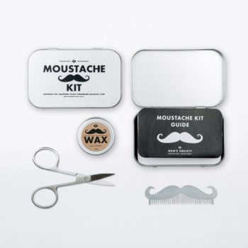 MEN'S SOCIETY MOUSTACHE GROOMING KIT CONTENTS AND PACKAGING