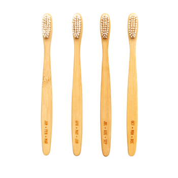IZOLA SET OF FOUR BAMBOO TOOTHBRUSHES FOR A YEARS SUPPLY