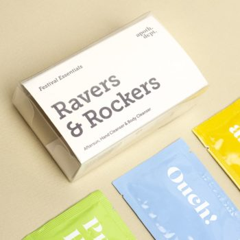 RAVERS AND ROCKERS FESTIVAL ESSENTIALS SET INCLUDING AFTERSUN, HAND AND BODY CLEANSER PACKAGING