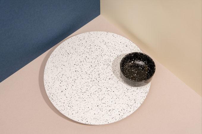 doiy drveni rotirajući pladanj i keramička zdjelica