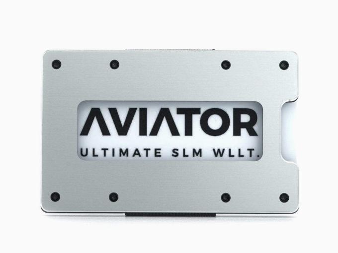 aviator novčanik za kartice srebrni od aluminija i karbonskih vlakana prednja strana