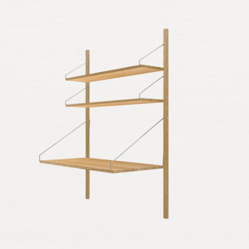 FRAMA SHELF LIBRARY AND DESK SECTION MADE FROM OAK SIDE VIEW