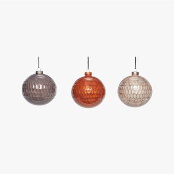 Huebsch Interior božićne kugle set od tri staklene narančasta/ siva/ bež