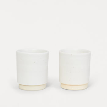 FRAMA OTTO WHITE HANDCRAFTED STONEWARE CERAMIC CUPS IN A SET OF TWO