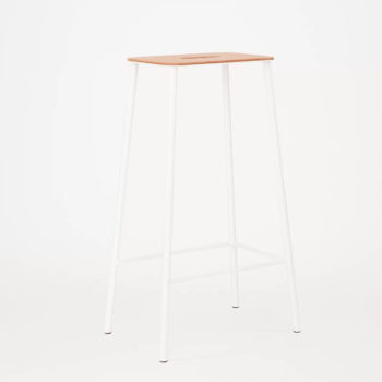 FRAMA ADAM STOOL WITH A WHITE STEEL FRAME AND A NATURAL LEATHER SEAT