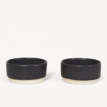 FRAMA OTTO SET OF TWO SMALL BLACK CERAMIC BOWLS